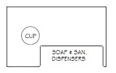 Soap and Sanitary Dispensers With Cup